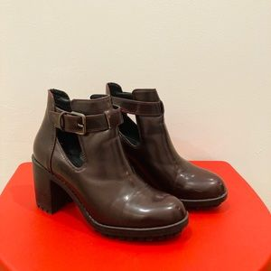 ZARA High heeled booties with a rubber grip sole.